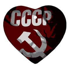 Cccp Soviet Union Flag Heart Ornament (two Sides) by youshidesign