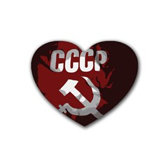 Cccp Soviet Union Flag Rubber Coaster (heart) by youshidesign
