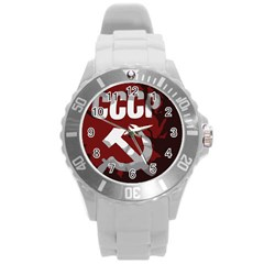 Cccp Soviet Union Flag Round Plastic Sport Watch Large by youshidesign