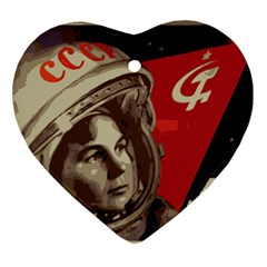 Soviet Union In Space Heart Ornament by youshidesign