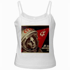 Soviet Union In Space White Spaghetti Tank by youshidesign