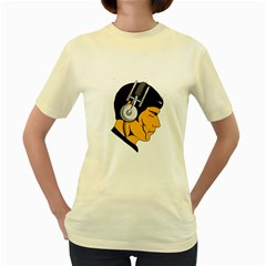 Space Beats  Womens  T Shirt (yellow)