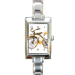 Tree Cycle Rectangular Italian Charm Watch by Contest1753604