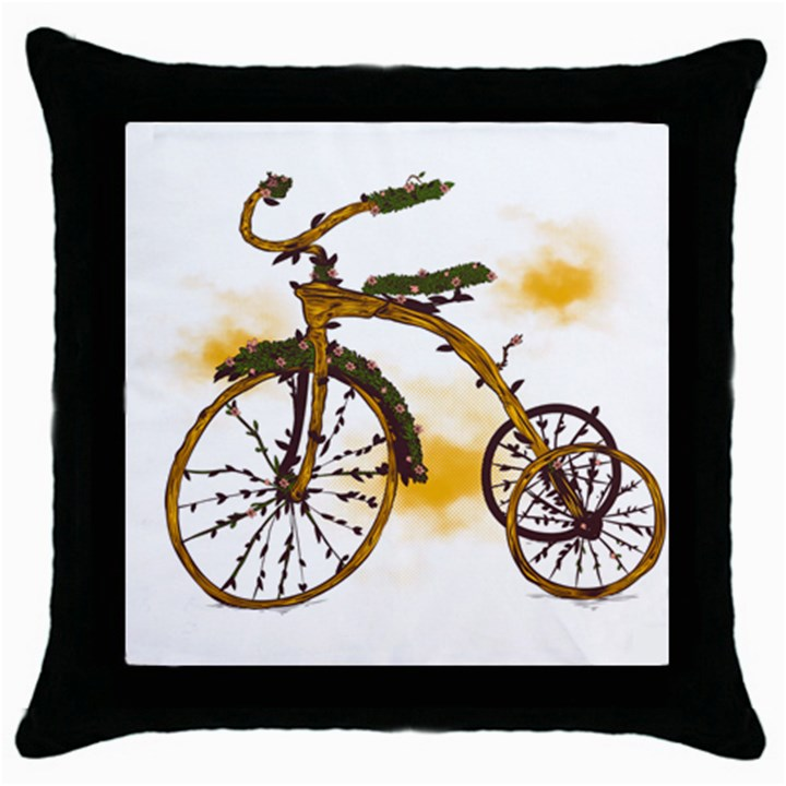 Tree Cycle Black Throw Pillow Case