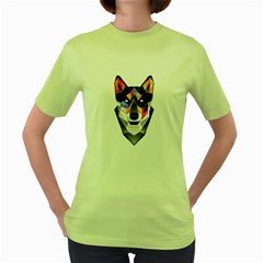 Wolf Womens  T Shirt (green)