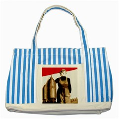 Power  To The Masses Striped Blue Tote Bag
