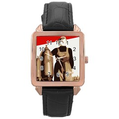 Power To The Masses Rose Gold Leather Watch  by youshidesign