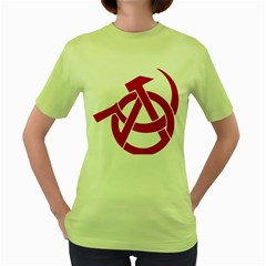 Hammer Sickle Anarchy Womens  T Shirt (green) by youshidesign