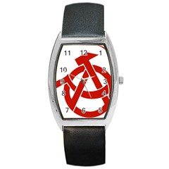 Hammer Sickle Anarchy Tonneau Leather Watch by youshidesign