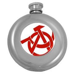 Hammer Sickle Anarchy Hip Flask (round) by youshidesign