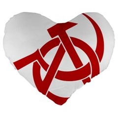 Hammer Sickle Anarchy 19  Premium Heart Shape Cushion by youshidesign