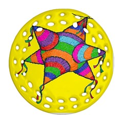 La Pinata Round Filigree Ornament (two Sides)