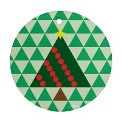 Holiday Triangles Round Ornament (two Sides) by ContestDesigns