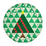 Holiday Triangles Round Filigree Ornament Front
