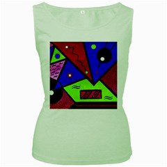 Modern Art Womens  Tank Top (green)