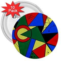 Modern Art 3  Button (10 Pack)