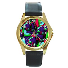 Balls Round Metal Watch (gold Rim)  by Siebenhuehner