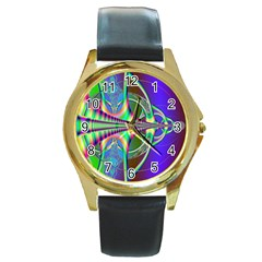 Design Round Metal Watch (gold Rim)  by Siebenhuehner