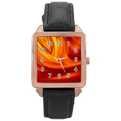 Wave Rose Gold Leather Watch  by Siebenhuehner