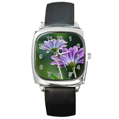 Flower Square Leather Watch by Siebenhuehner