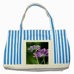 Flower Blue Striped Tote Bag by Siebenhuehner