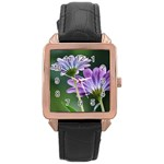 Flower Rose Gold Leather Watch  Front