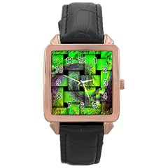 Modern Art Rose Gold Leather Watch  by Siebenhuehner