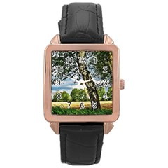 Trees Rose Gold Leather Watch  by Siebenhuehner