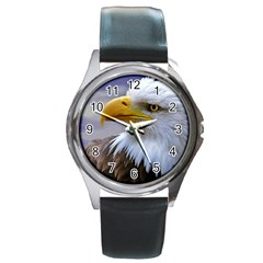 Bald Eagle Round Metal Watch (silver Rim)