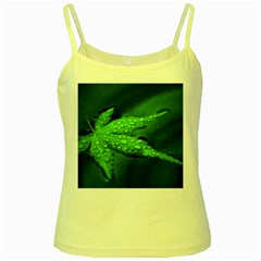 Leaf With Drops Yellow Spaghetti Tank by Siebenhuehner