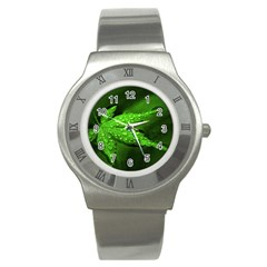 Leaf With Drops Stainless Steel Watch (unisex) by Siebenhuehner