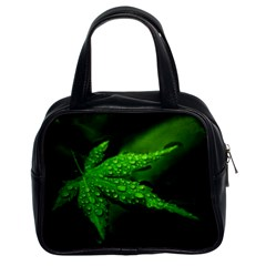 Leaf With Drops Classic Handbag (two Sides) by Siebenhuehner
