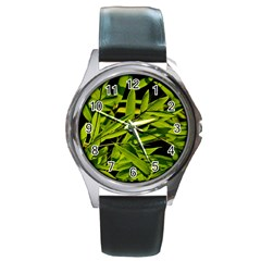 Bamboo Round Metal Watch (silver Rim) by Siebenhuehner