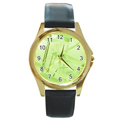 Bamboo Round Metal Watch (gold Rim)  by Siebenhuehner