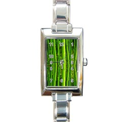 Bamboo Rectangular Italian Charm Watch by Siebenhuehner