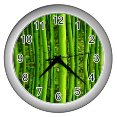 Bamboo Wall Clock (silver) by Siebenhuehner