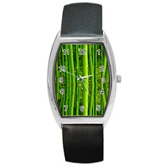 Bamboo Tonneau Leather Watch by Siebenhuehner