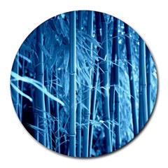 Blue Bamboo 8  Mouse Pad (round) by Siebenhuehner