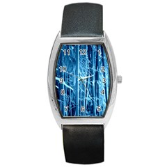 Blue Bamboo Tonneau Leather Watch by Siebenhuehner