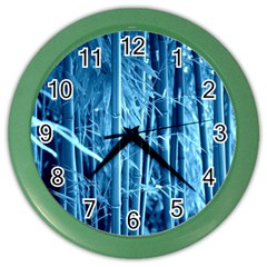 Blue Bamboo Wall Clock (color) by Siebenhuehner