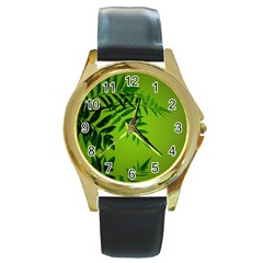 Leaf Round Metal Watch (gold Rim)  by Siebenhuehner
