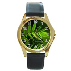 Leaf Round Metal Watch (gold Rim)