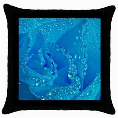 Blue Rose Black Throw Pillow Case by Siebenhuehner