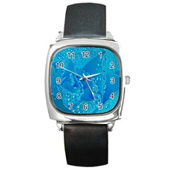 Blue Rose Square Leather Watch by Siebenhuehner