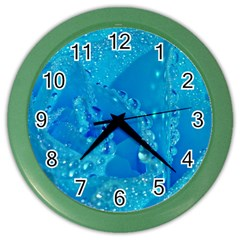 Blue Rose Wall Clock (color)