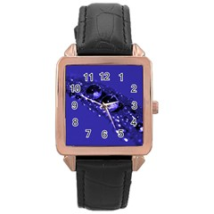 Waterdrops Rose Gold Leather Watch  by Siebenhuehner