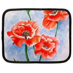 Poppies Netbook Case (large) by ArtByThree