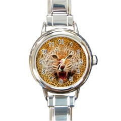 Electrified Fractal Jaguar Round Italian Charm Watch by TheWowFactor