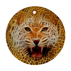 Electrified Fractal Jaguar Ornament (round) by TheWowFactor