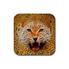 Electrified Fractal Jaguar Rubber Square Coaster (4 Pack) by TheWowFactor